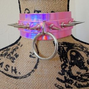 Punk Gothic Holographic Pink Spike Stud Choker